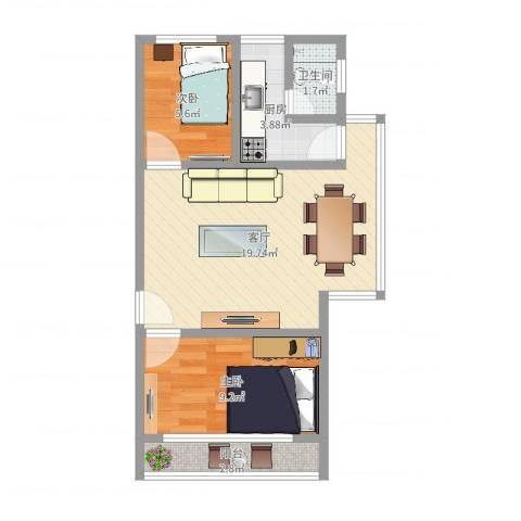 晓园新村2室1厅1卫1厨54.00㎡户型图