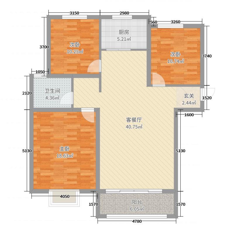 城标・尚郡119.84㎡城标尚郡1户型3室3厅1卫1厨