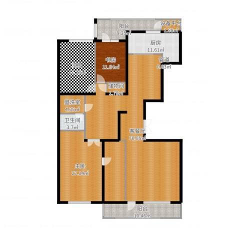 五矿万科・如园3室2厅1卫1厨227.00㎡户型图