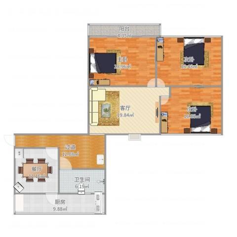 七里堡小区南区3室2厅1卫1厨146.00㎡户型图
