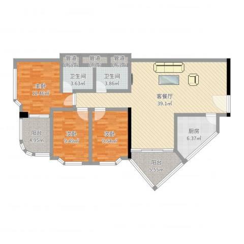 华友大厦3室2厅2卫1厨121.00㎡户型图