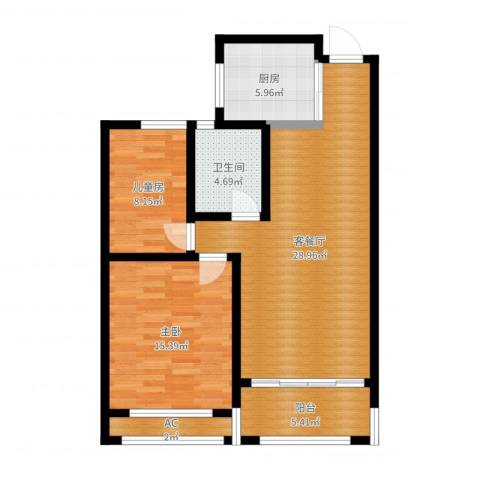 建滔裕景园2室2厅2卫1厨88.00㎡户型图