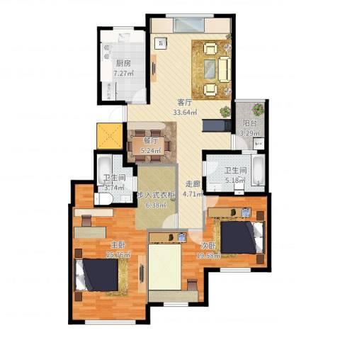 金象泰吉祥家园2室1厅2卫1厨123.00㎡户型图