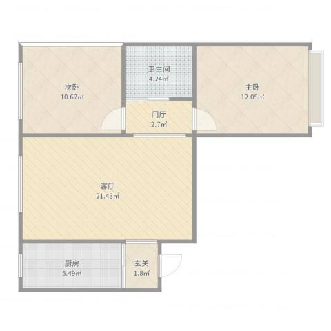 玉门小区高层住宅楼2室1厅1卫1厨73.00㎡户型图