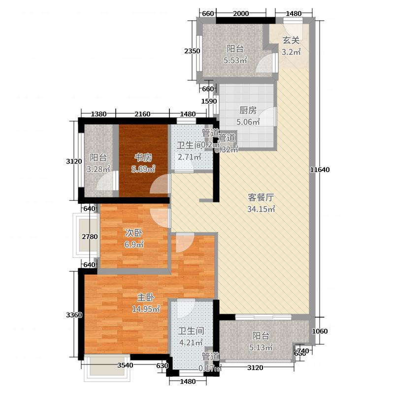 佛山绿地中心・璀璨天城109.00㎡5/8座02单元户型4室4厅2卫1厨