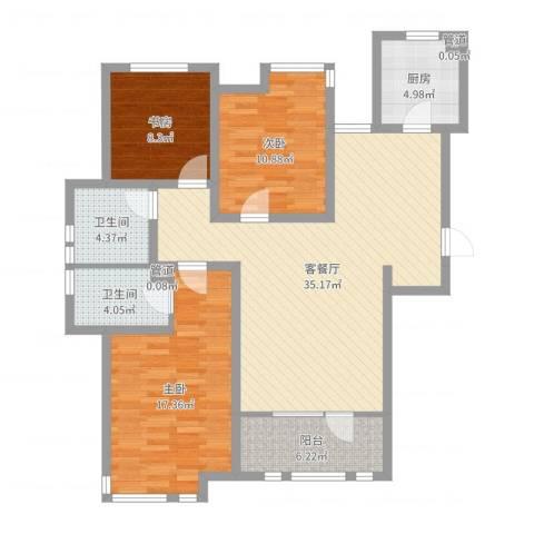 集美花园3室2厅2卫1厨114.00㎡户型图