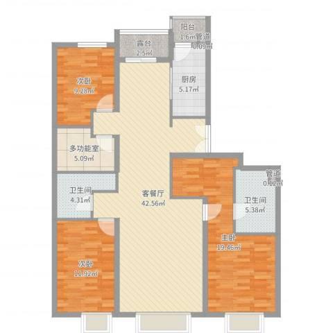 集美花园3室2厅2卫1厨134.00㎡户型图
