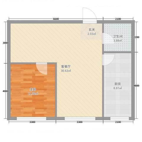 万有佳园1室2厅1卫1厨71.00㎡户型图