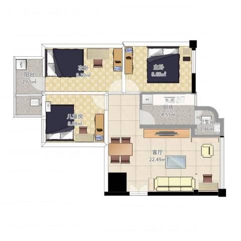 富昌花园3室1厅2卫1厨74.00㎡户型图