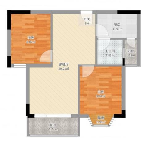 新港名城花园2室2厅1卫1厨64.00㎡户型图