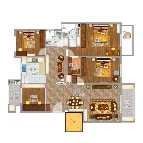 保集澜湾4室2厅2卫1厨146.00㎡户型图