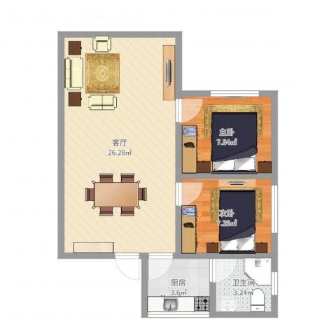 永福西约2室1厅1卫1厨60.00㎡户型图
