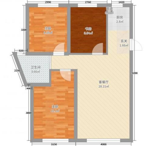 万宏-自在成3室2厅1卫0厨81.00㎡户型图