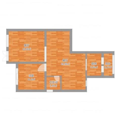 保集澜湾1室2厅1卫1厨86.00㎡户型图