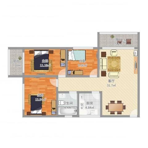 金满家园3室1厅1卫1厨102.00㎡户型图