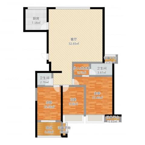 上东曼哈顿3室1厅5卫1厨145.00㎡户型图