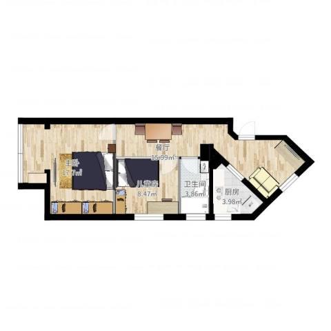福山小区2室1厅1卫1厨63.00㎡户型图