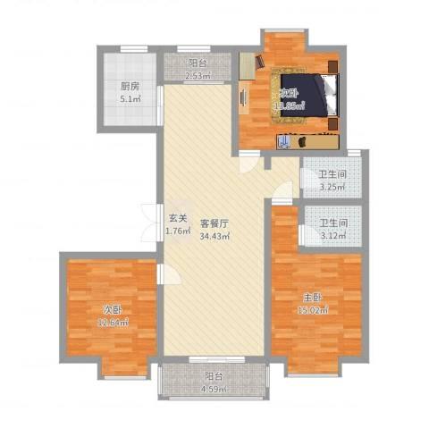 紫金领秀二期3室2厅2卫1厨118.00㎡户型图