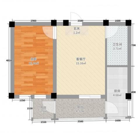 和美雅苑1室2厅1卫1厨51.00㎡户型图