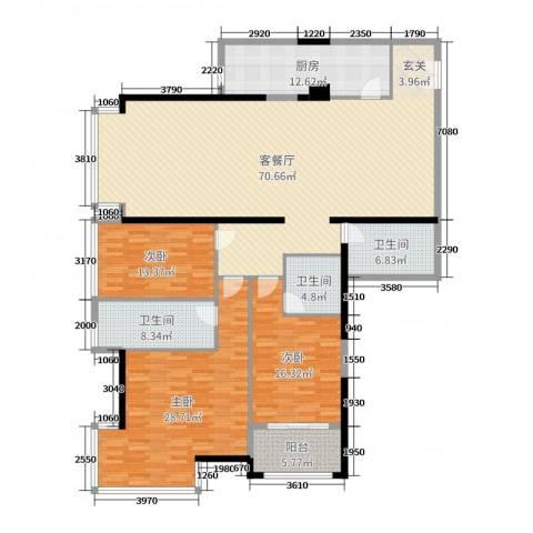 新世纪大厦3室2厅3卫1厨208.00㎡户型图