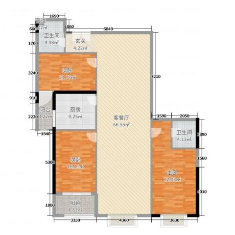 新世纪大厦3室2厅2卫1厨178.00㎡户型图