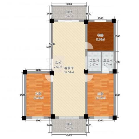 和美雅苑3室2厅2卫0厨116.00㎡户型图