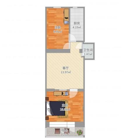 平谷南小区2室1厅1卫1厨53.00㎡户型图