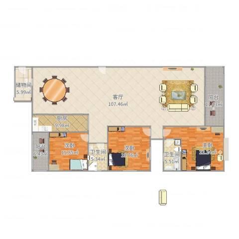 福隆国际3室1厅2卫1厨276.00㎡户型图