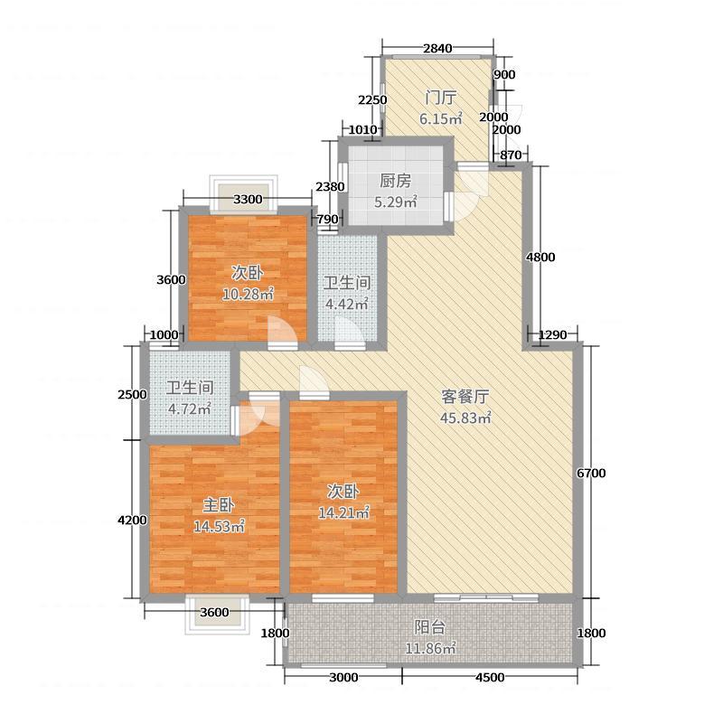 阳光佳苑131.50㎡1栋05户型3室3厅2卫1厨