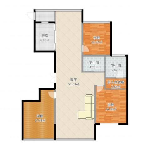 城泰湖韵天成3室1厅2卫1厨153.00㎡户型图