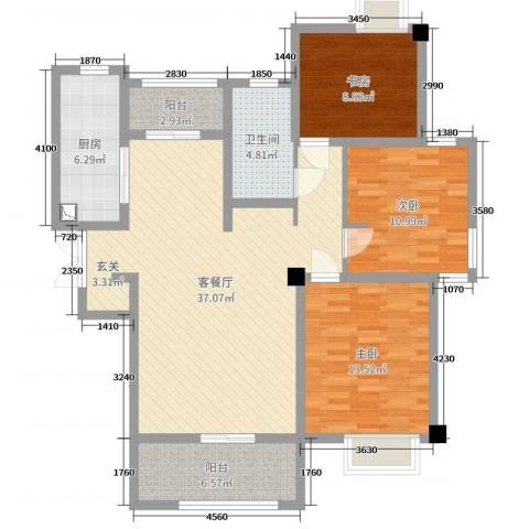 吴中豪景华庭3室2厅1卫1厨114.00㎡户型图