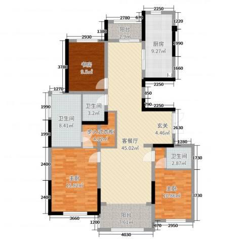 吴中豪景华庭3室2厅3卫1厨140.00㎡户型图