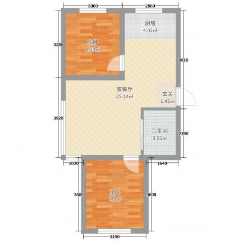 万宏-自在成2室2厅1卫0厨65.00㎡户型图