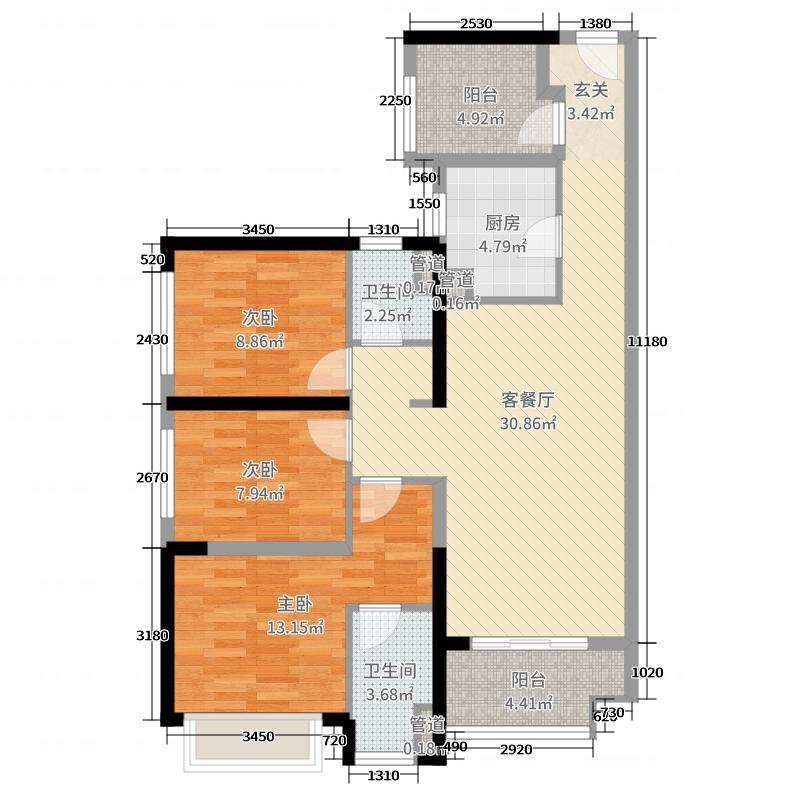 佛山绿地中心・璀璨天城110.00㎡7座02单元户型4室4厅2卫1厨