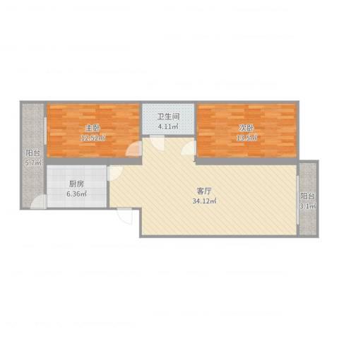 顺泰公寓2室1厅1卫1厨99.00㎡户型图