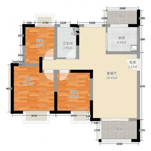 世茂东都・天城3室2厅1卫1厨107.00㎡户型图