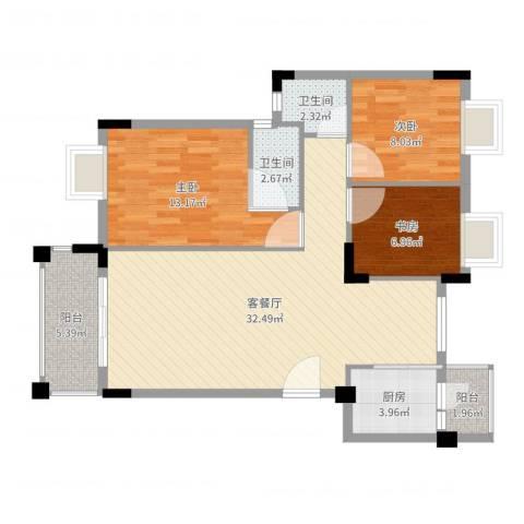 钜隆金溪蓝湾3室2厅2卫1厨96.00㎡户型图
