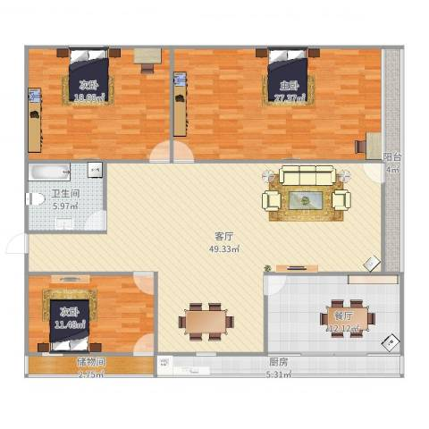 洪楼西路单位宿舍3室2厅1卫1厨137.00㎡户型图