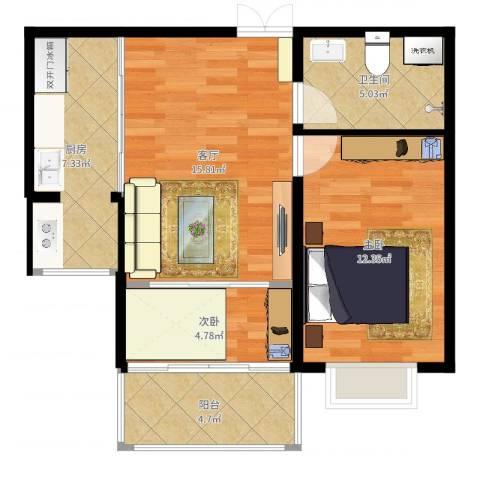 紫金城2室1厅1卫1厨50.00㎡户型图