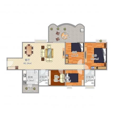 富和名都二期4室1厅2卫1厨127.78㎡户型图