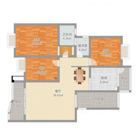 缙云小区3室3厅1卫1厨148.00㎡户型图