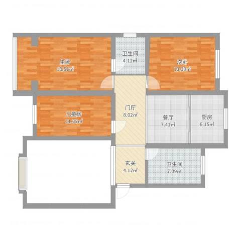 西湖庄园3室1厅2卫1厨80.12㎡户型图