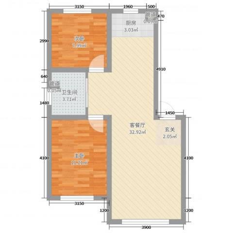 万宏-自在成2室2厅1卫0厨78.00㎡户型图
