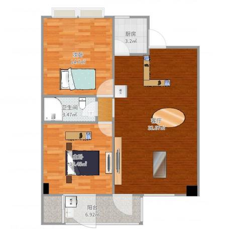 金建苑2室1厅1卫1厨94.00㎡户型图