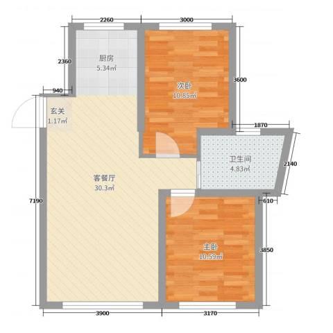 万宏-自在成2室2厅1卫0厨77.00㎡户型图