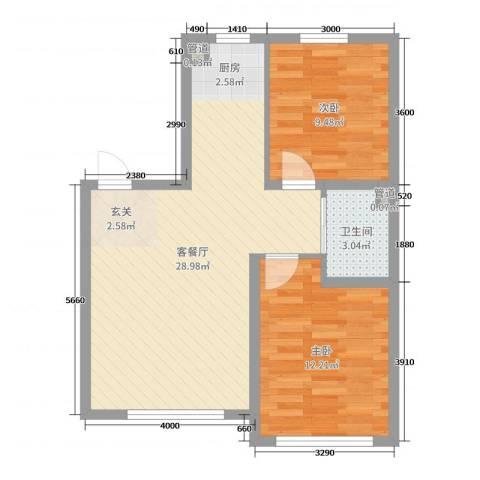 万宏-自在成2室2厅1卫0厨84.00㎡户型图