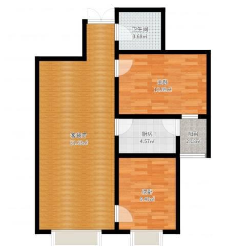 世纪春天2室2厅1卫1厨79.00㎡户型图