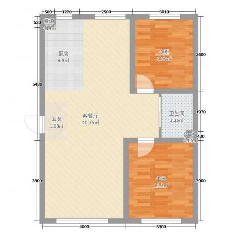 万宏-自在成2室2厅1卫0厨96.00㎡户型图