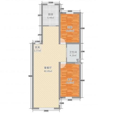 万宏-自在成2室2厅1卫1厨96.00㎡户型图