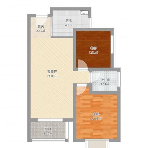 世纪之门2室2厅1卫1厨70.00㎡户型图